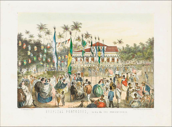 Hospital Portuguez, no dia do seo anniversario.,c.1863