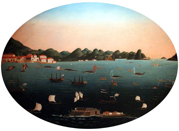 Pesca da baleia na Baía de Guanabara, de Leandro Joaquim, séc. XVIII (Coleção do Museu Histórico Nacional, RJ)