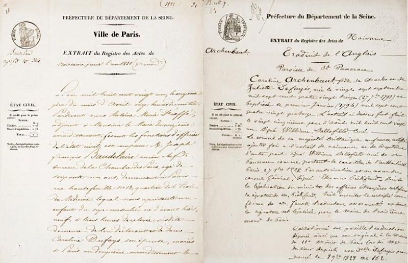 Certidões de nascimento de Charles Baudelaire (1821-1867) e sua mãe, Caroline Aupick (1793-1871).