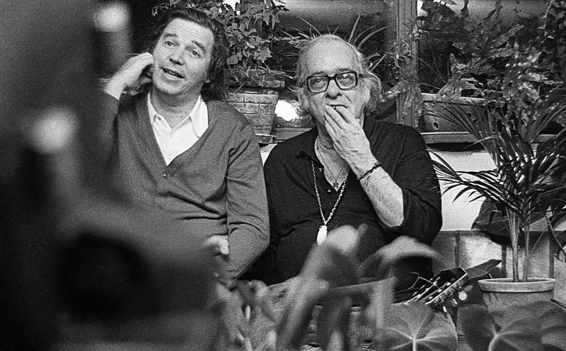 Vinicius e Tom Jobim durante as filmagens